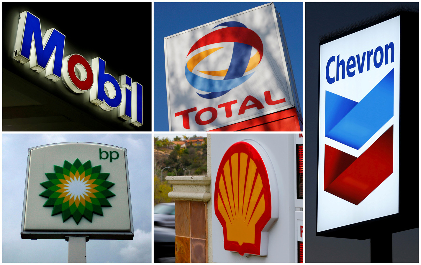 De logo's van 's werelds vijf grootste energiebedrijven.