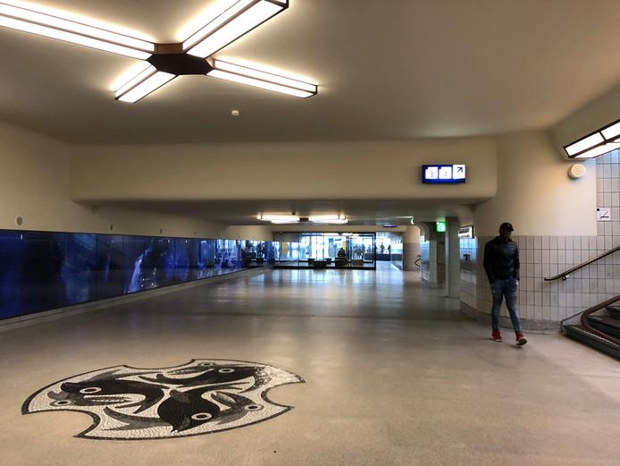 In de oude passage van het station Eindhoven zijn de dierenmozaïeken hersteld.