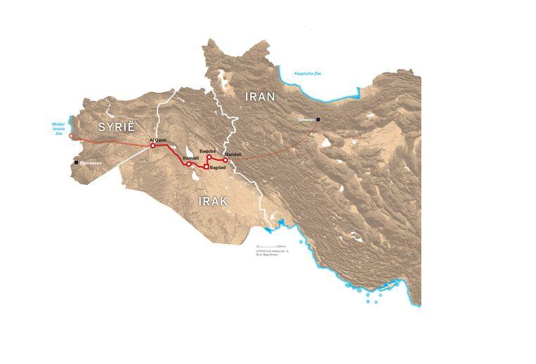 De veronderstelde landbrug van Iran naar Syrië. Beeld
