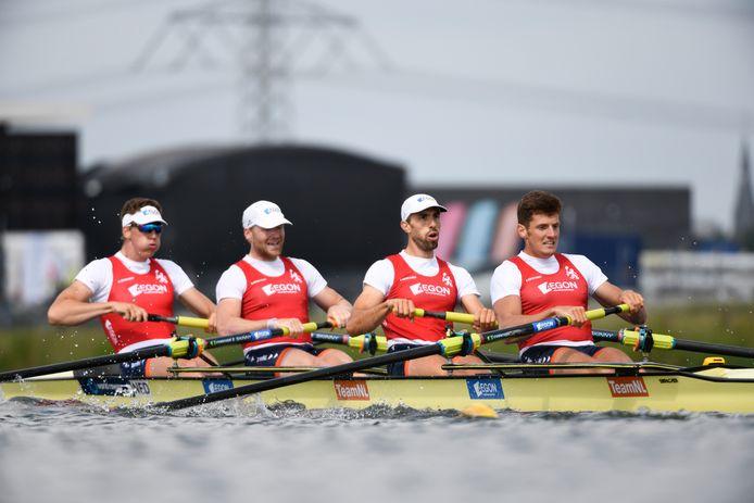 Jacob van de Kerkhof, uiterst rechts in de vierzonder.
