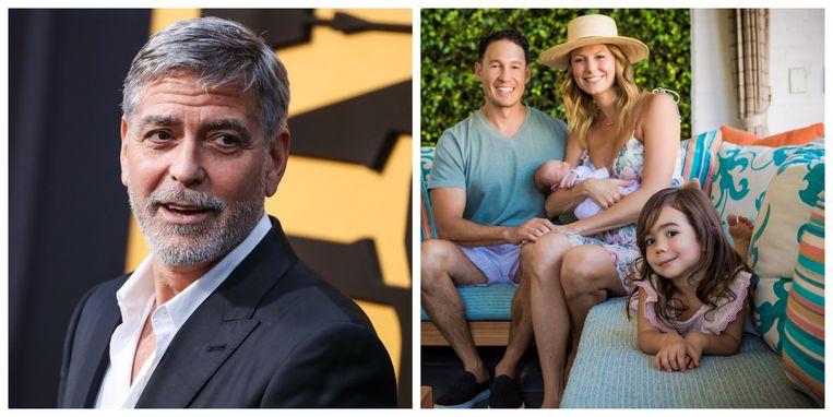 Links: George Clooney. Rechts: het gezinnetje van Stacy Kleiber met vooraan Ava