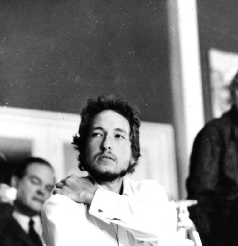 Bob Dylan op 27 augustus 1969, tijdens een persconferentie tijdens het Isle of Wight-festival. Beeld getty
