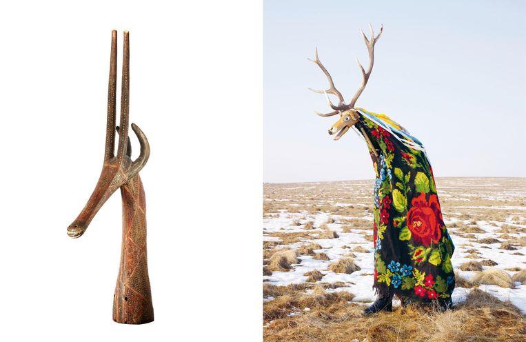 1. Antilope opzetmasker, Kurumba (cultuur), Burkina Faso, eerste helft 20e eeuw, Collectie Wereldmuseum Rotterdam, inv nr. 56758 2. Charles Fréger, Cerbul (Hert), Corlata, Roemenië, 2010-2011 Beeld