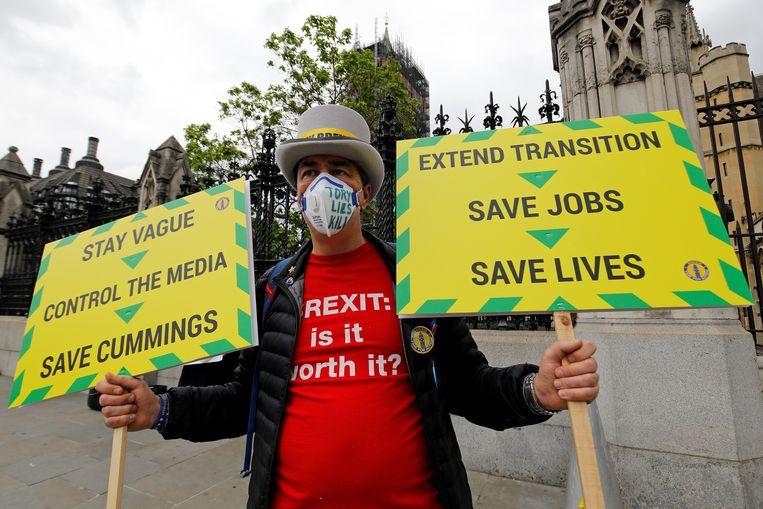 Een anti-brexit-activist demonstreert in Londen voor een verlenging van de overgangstermijn. Die verloopt op 31 december van dit jaar.  Beeld AFP