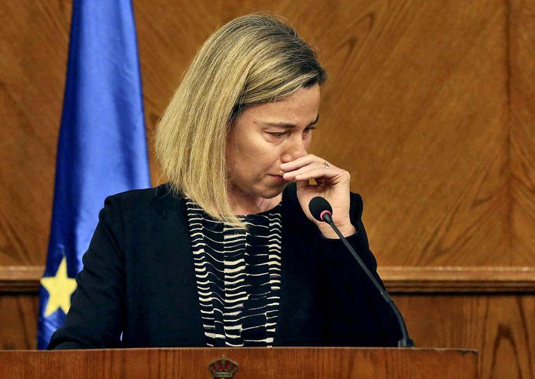 EU-buitenlandchef Federica Mogherini tijdens een persconferentie op dinsdag. Beeld ap