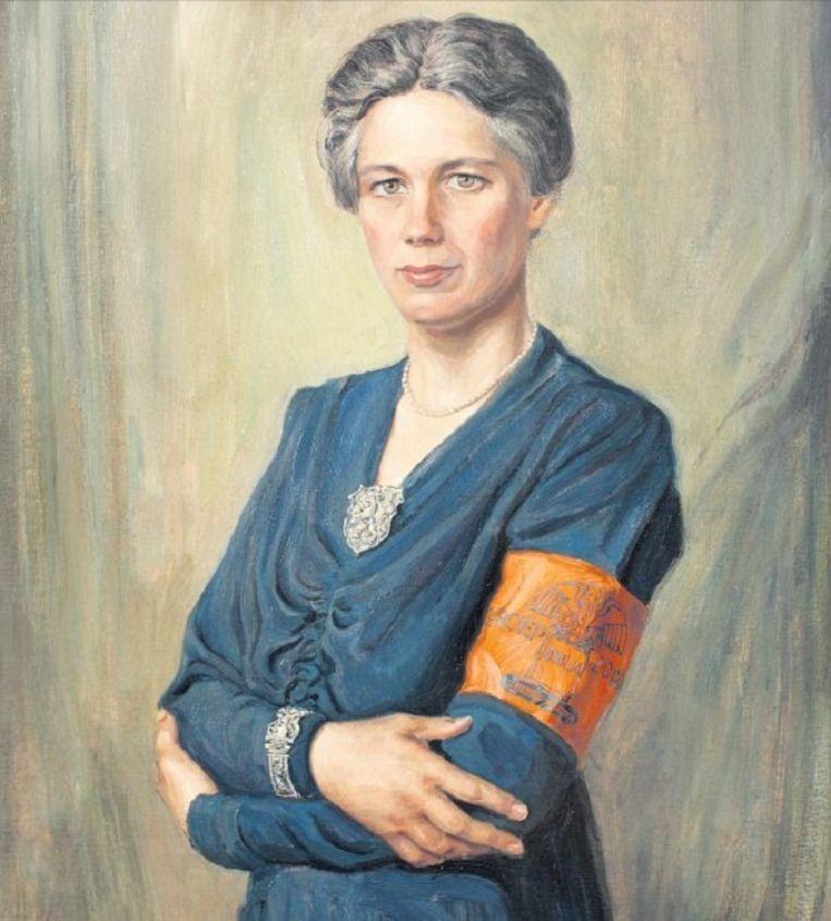 Jacoba van Tongeren, leidster van Groep 2000, in 1945 geschilderd door Max Nauta. Beeld COLLECTIE STICHTING 1940-1945, Foto: Rogier Veltman