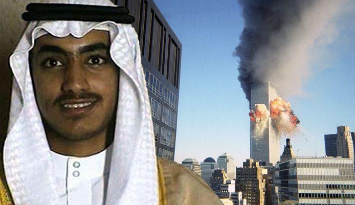 Een beeld van Hamza bin Laden op zijn huwelijk (links). Eind vorig jaar werd de foto vrijgegeven door de CIA. Rechts het World Trade Center in New York net nadat het tweede vliegtuig erop was ingevlogen op 11 september 2001.