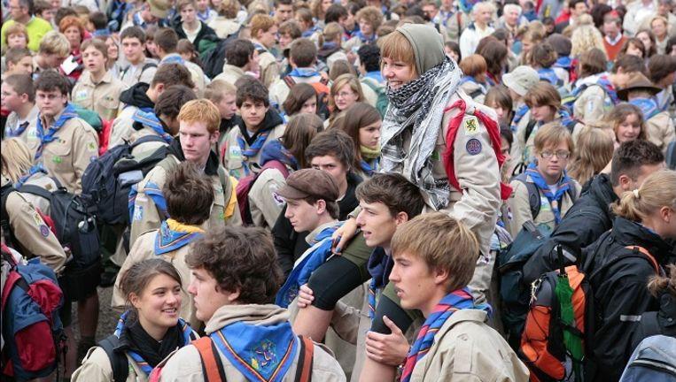 Archiefbeeld van het vertrek van het Belgische contingent naar de World Jamboree.