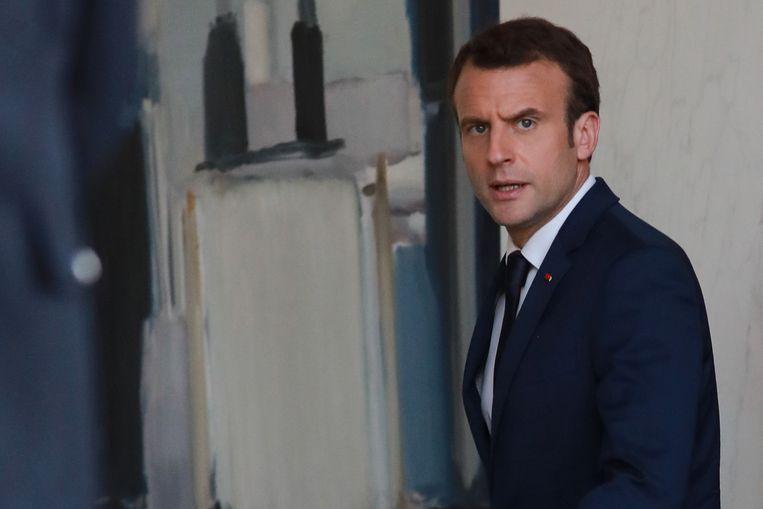 De Franse president Emmanuel Macron, die hervormingsplannen voor de EU presenteerde. Beeld AFP