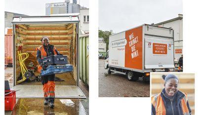 Een tweede leven in De Kringwinkel Antwerpen: de Ghanese Esther rijdt rond met de vrachtwagen