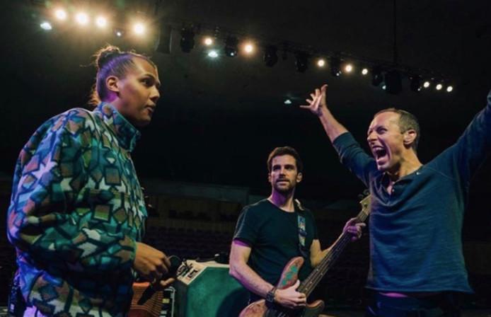 Stromae lors des répétitions avec Coldplay.