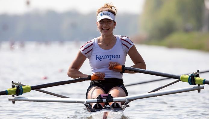 De Wierdense Martine Veldhuis in de finale van de wereldbeker in Plovdiv.