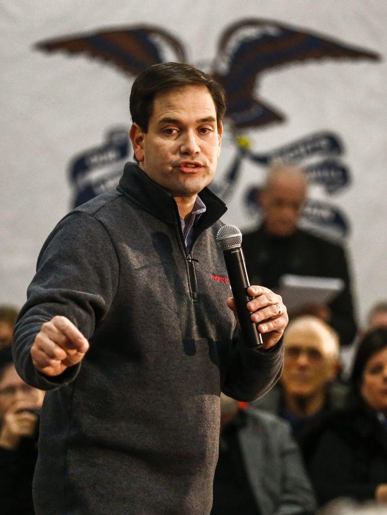 Senator Marco Rubio, hier op campagne in Iowa, staat op de tweede plek met 39 miljoen dollar. Beeld null