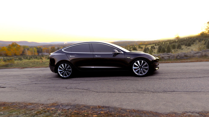 2017-07-03 09:36:17 epa06063952 A undated handout photo made available by Tesla Motors on 03 July 2017 shows Tesla Model 3 in black. The all-electric Model 3 was unveiled on 31 March 2016.  According to a tweet by Elon Musk, CEO of Tesla Inc., Model 3 passed all regulatory requirements for production and is expected to be rolling off production line this week.  EPA/HANDOUT HANDOUT  HANDOUT EDITORIAL USE ONLY/NO SALES