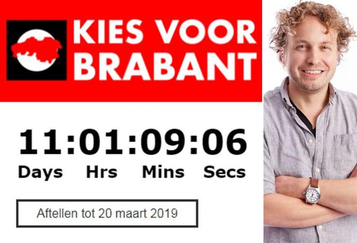 De website van de provincie Brabant telt af tot de verkiezingen, waaraan liefst drie seniorenpartijen meedoen.