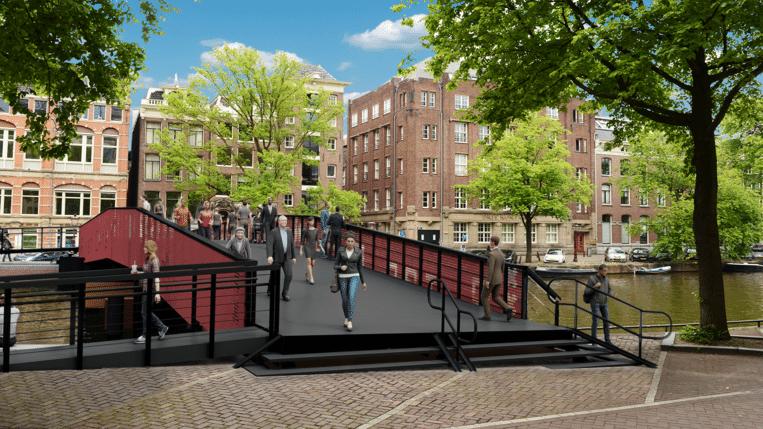 Op acht plaatsen tussen de Dam en het Mercatorplein worden binnenkort noodbruggen aangelegd. Beeld Gemeente Amsterdam
