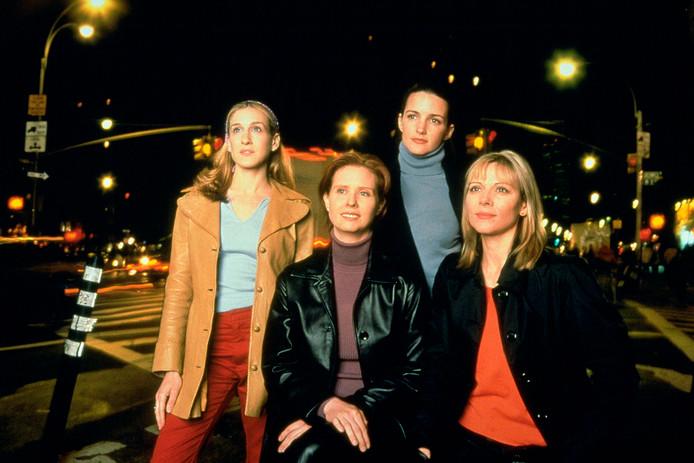 Sarah Jessica Parker, Cynthia Nixon, Kristin Davis, Kim Cattrall aan het begin van het SATC-tijdperk.