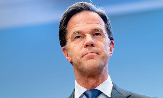Premier Mark Rutte tijdens een persconferentie op het ministerie van Justitie en Veiligheid.