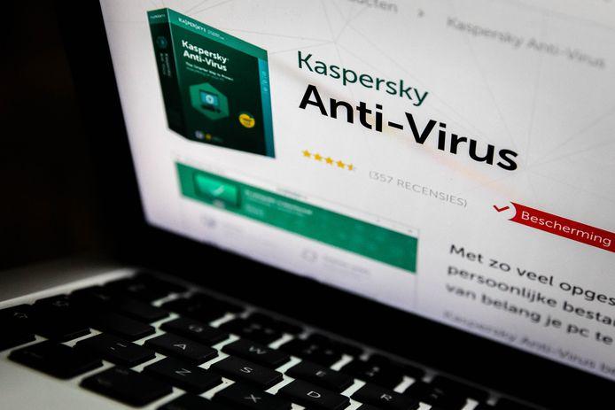 Een laptop met de website van de Russische antivirusmaker Kaspersky Lab.