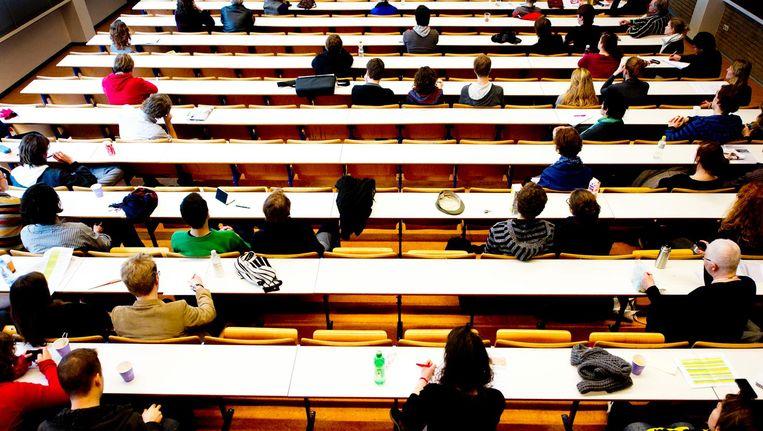 De actiegroep hekelt al jaren de toename van Engelstalige opleidingen op het hbo en op universiteiten. Beeld anp