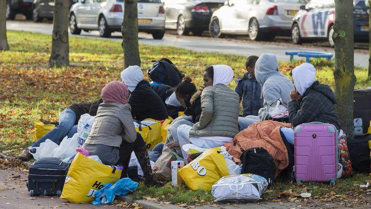 Vluchtelingen protesteerden eerder in Den Haag tegen een tijdelijke verblijfplaats Beeld anp