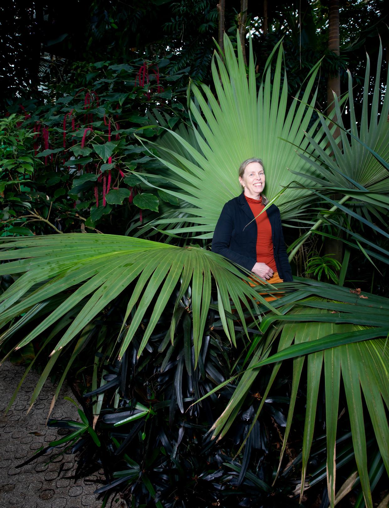 Leni Duistermaat in de Hortus van Leiden. 'Weet je dat er meer dan honderd soorten gras in Nederland staan? Al die verschillende vormen en variaties, daar heb ik een intrinsieke nieuwsgierigheid naar.'
