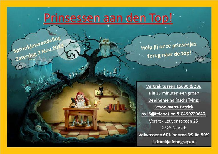 Affiche van de sprookjeswandeling 'Prinsessen aan de top'