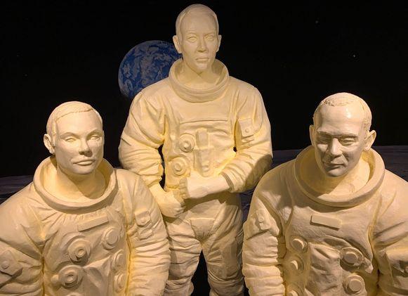 Neil Armstrong, Michael Collins en Buzz Aldrin werden nog nooit eerder in boter afgebeeld.
