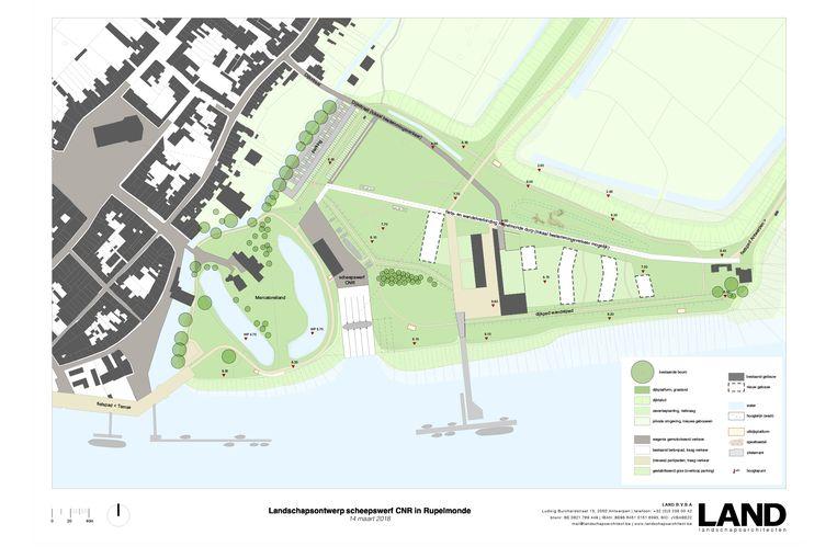 Op het nieuwe plan zijn vijf bijkomende bouwblokken (wit op de kaart) ingetekend