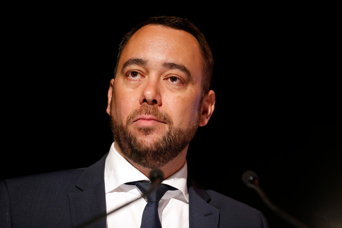 cdH chairman Maxime Prevot delivers a speech at a party forum, entitled 'Comment retablir la confiance des Belges envers l'Etat et ses institutions les plus emblematiques', of French-speaking christian democrats cdH, ahead of the upcoming regional, federal and European elections, Saturday 16 March 2019 in Brussels. BELGA PHOTO NICOLAS MAETERLINCK