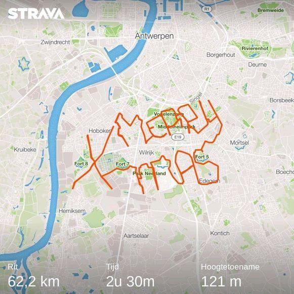 De route die Sam aflegde door Antwerpen.