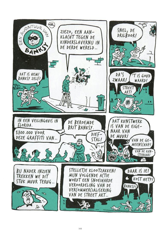 Een pagina uit het boek 'De nieuwe avonturen van de kunst' van Willem.  Beeld