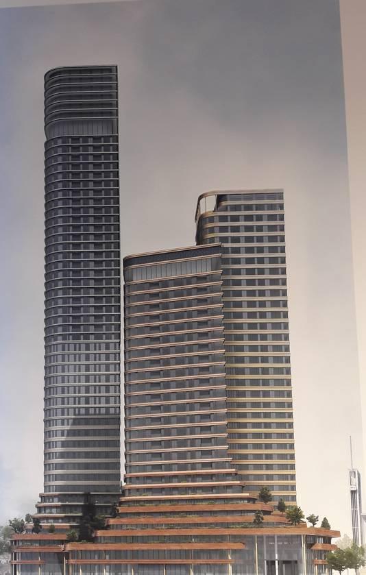 De nieuwste impressie van de drie torens (80, 110 en 170 meter) van District E, het plan van Amvest voor het Stationsplein in Eindhoven