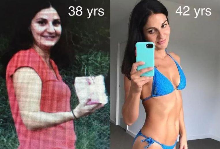 Joane op haar 38e en op haar 42ste.