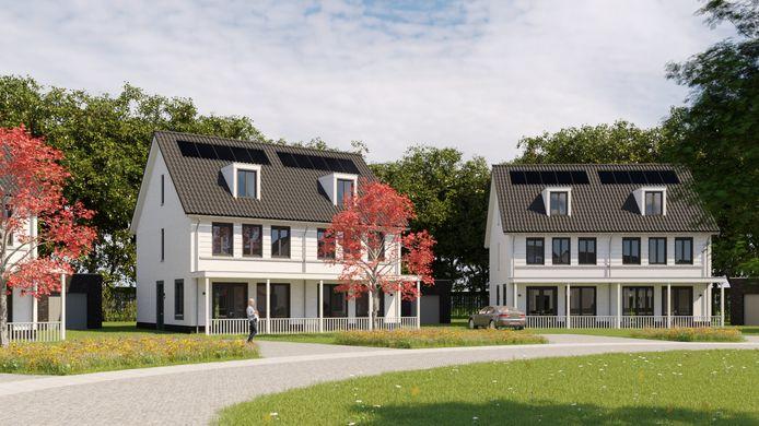 Impressie van de tweekappers in het nieuwbouwplan Tyboschplein in Stiphout.