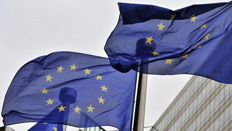 Vlaggen van de Europese Unie in Brussel. Beeld afp