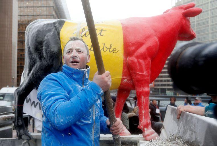 Een Belgische melkveehouder voert actie tegen de overcapaciteit in de zuivelmarkt, vorig jaar januari in Brussel. Beeld REUTERS
