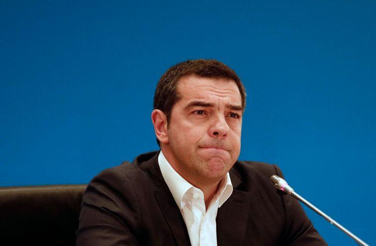 De Griekse premier Alexis Tsipras heeft met zijn linkse partij de verkiezingen ruim verloren van Nieuwe Democratie. Beeld EPA