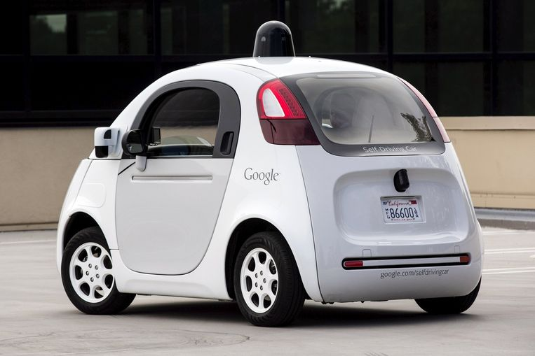 Autootje van Google, hier nog stuurloos. Beeld reuters
