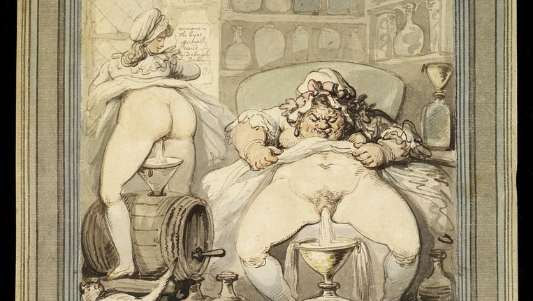 A village doctress distilling eyewater c. 1800, van Thomas Rowlandson. Beeld Welcome Images