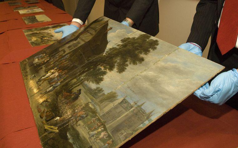 Eén van de teruggevonden werken, de Jan Brueghel, uit de collectie-Noortman. Foto ANP/Ruben Schipper Beeld