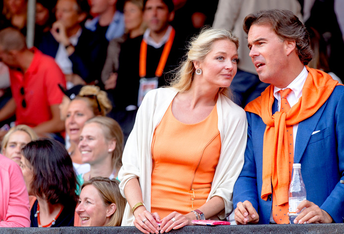Camiel Eurlings en Tessa Rolink in betere tijden: op de tribune bij het WK beachvolleybal in Den Haag in 2015.