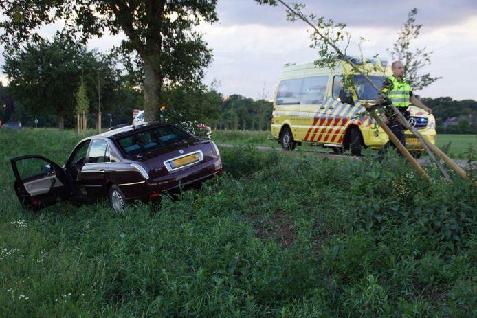 De auto kwam tot stilstand tegen een boom