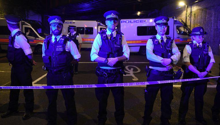 Een politiecordon in Finsbury Park, Londen.