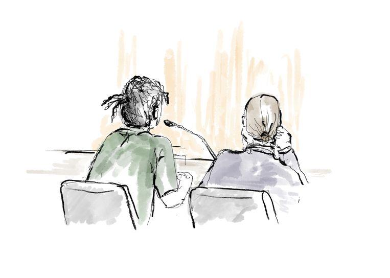 Een schets van A$AP Rocky tijdens zijn proces.