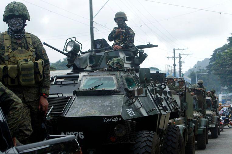 Filipijnse regeringstroepen in Jolo na de volksbevraging op 21 januari over de oprichting van een nieuwe autonome moslimregio in de zuidelijke regio Mindanao.