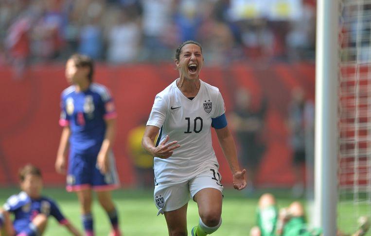 Carli Lloyd na de eerste van haar drie goals tijdens de finale van het WK Damesvoetbal