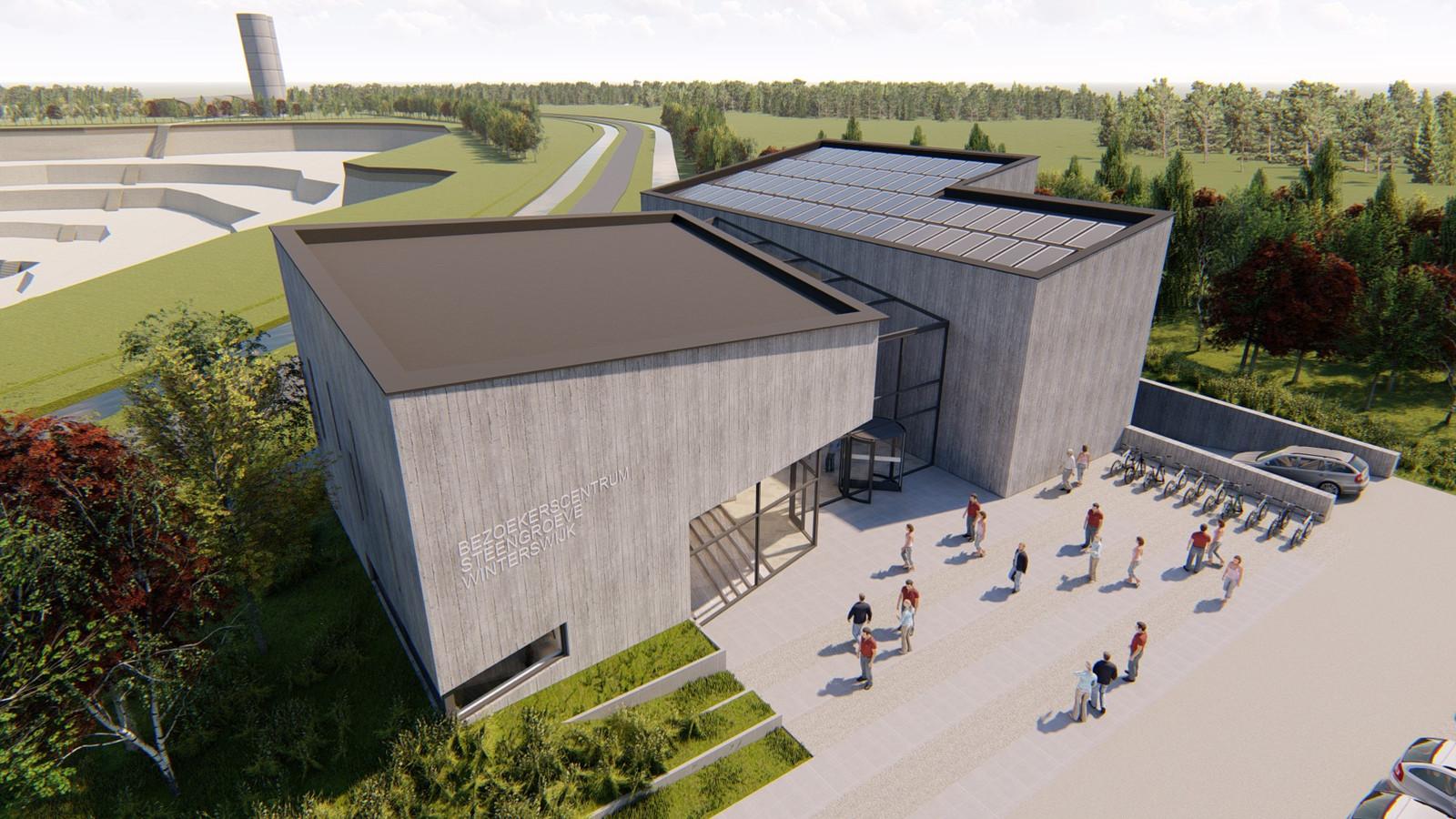 Een voorlopig ontwerp van het bezoekerscentrum bij de steengroeve, op de achtergrond te zien.