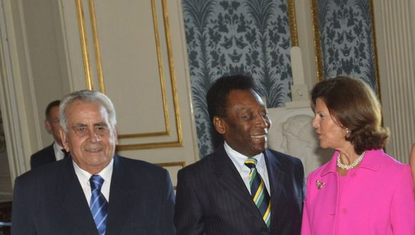Zito, hier in het gezelschap van Pelé en de Zweedse koningin Silvia