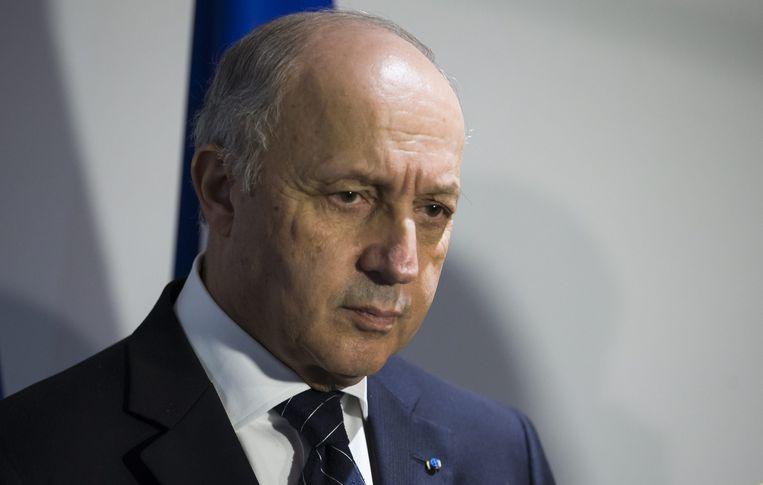 Franse minister van Buitenlandse Zaken en voorzitter van COP21, Laurent Fabius. Beeld null